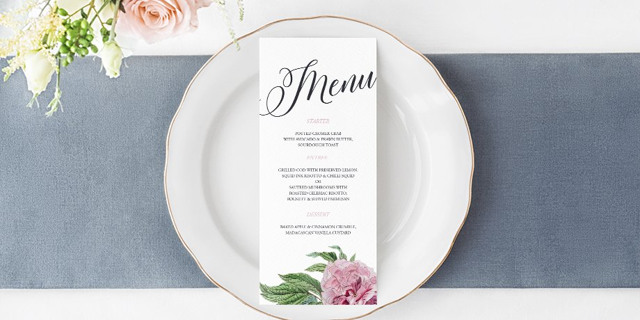 Menus wedding table stationery by Flamboyant Invites Occassion Paperie