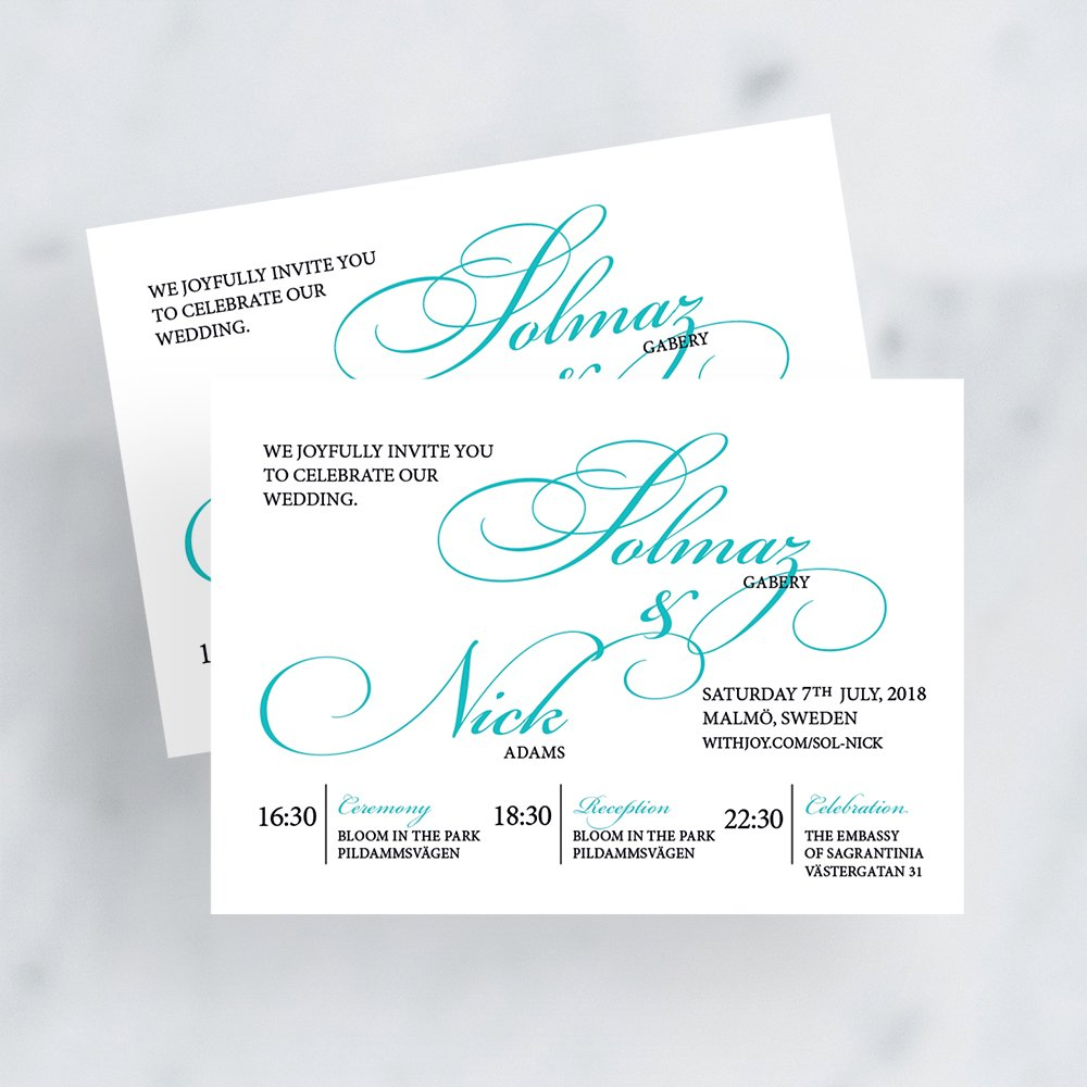 Aqua and Grey Calligraphy Invitation by Flamboyant Invites