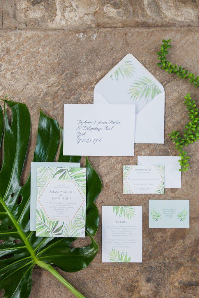 Flamboyant Invites Coco Palm Wedding Invitation Suite