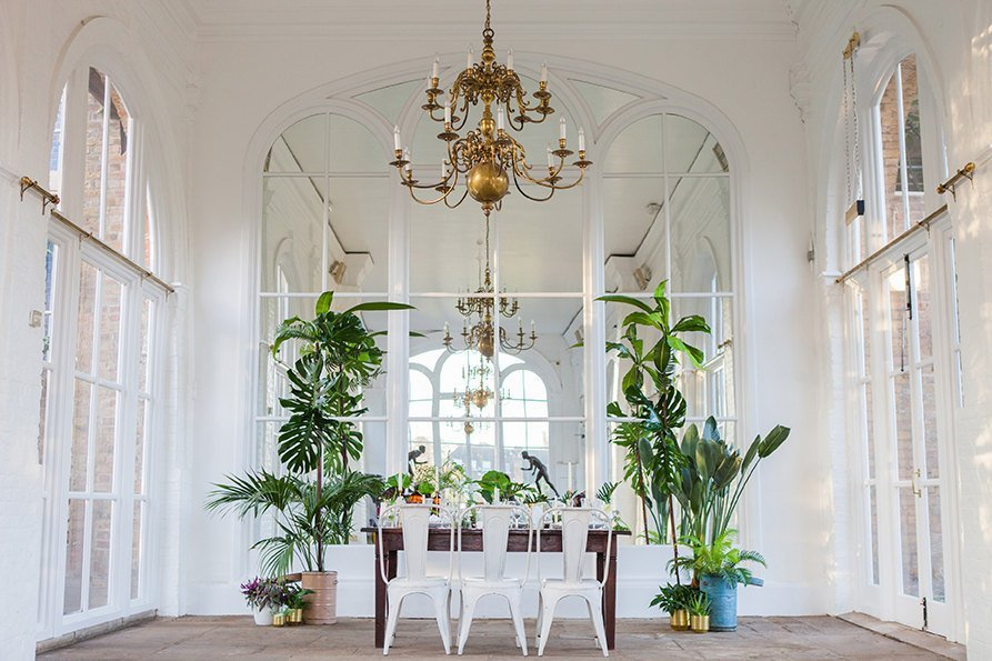 Tropical Palm and Gold Wedding Styled Shoot, Holland Park Orangery, London