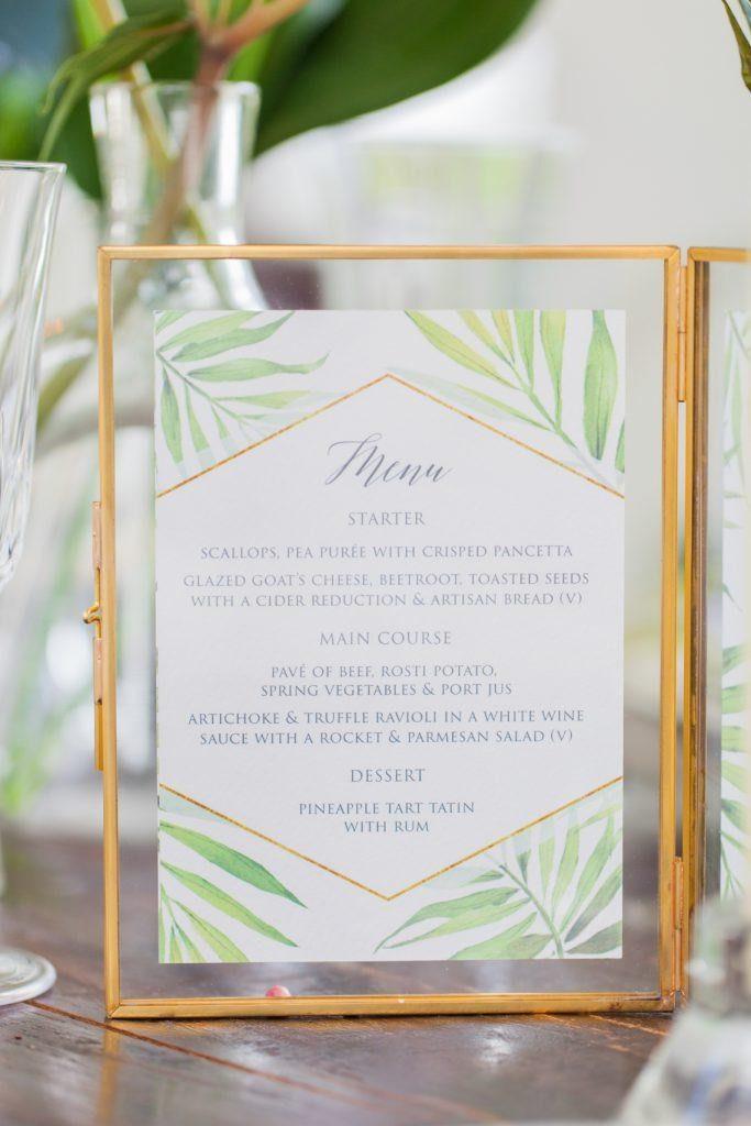 Flamboyant Invites Coco Palm Menu Styling