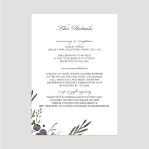 Muted Floral Enclosure Card | Surrey Wedding Event Stationery Design