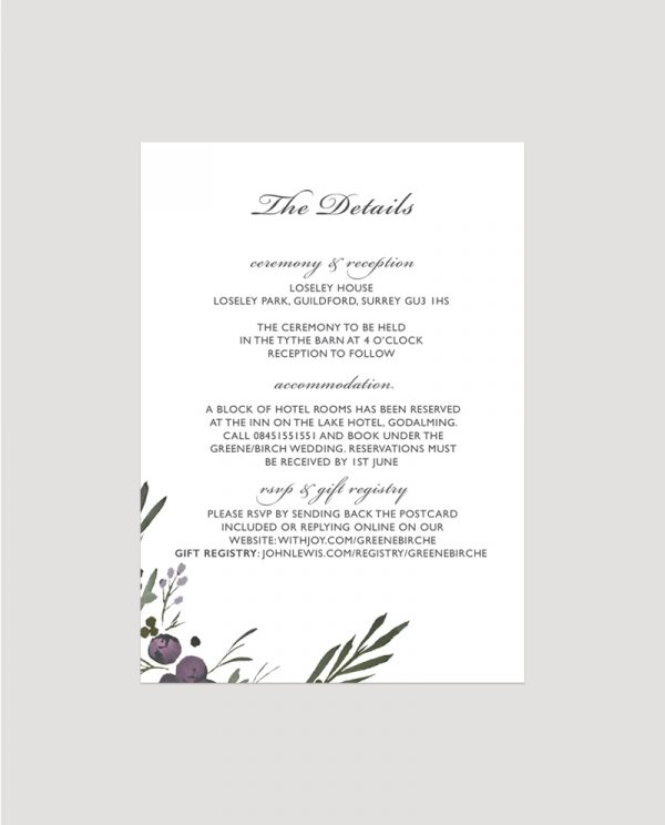 Muted Floral Enclosure Card   Surrey Wedding Event Stationery Design