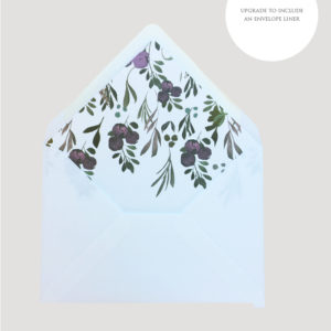 Muted Floral Wedding Envelope Liner | Surrey Wedding Event Stationery Design
