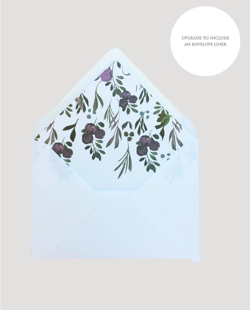 Muted Floral Wedding Envelope Liner | Surrey Wedding Event Stationery Design