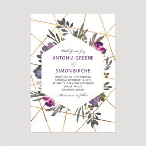 Muted Floral Wedding invitation | Surrey Wedding Event Stationery Design