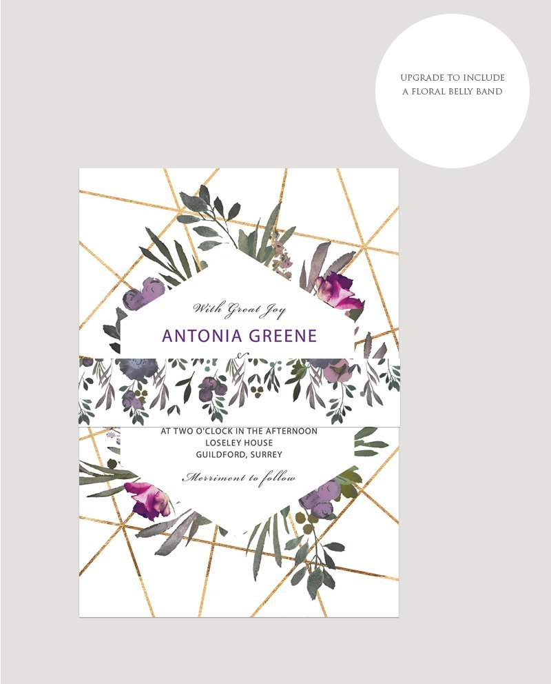 Muted Floral Invitation Belly Band | Surrey Wedding Event Stationery Design