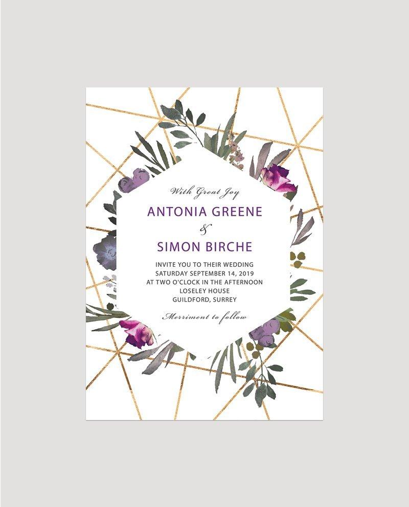 Floral Wedding Invitations.Muted Floral Wedding Invitation Flamboyant Invites