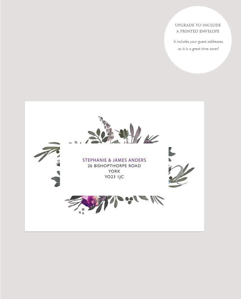 Muted Floral Printed Envelope with Guest Addresses | Surrey Wedding Event Stationery Design