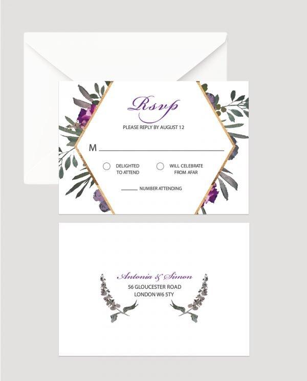 Muted Floral RSVP Card | Surrey Wedding Event Stationery Design