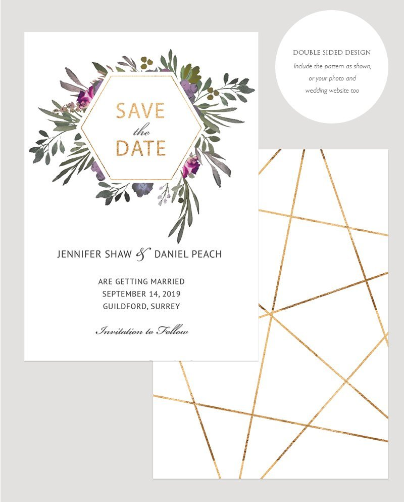 Muted Floral Save the Date Card | Surrey Wedding Event Stationery Design