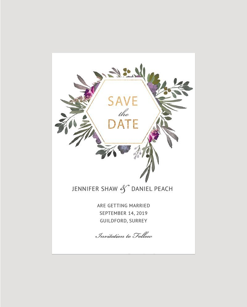 muted floral save the date card