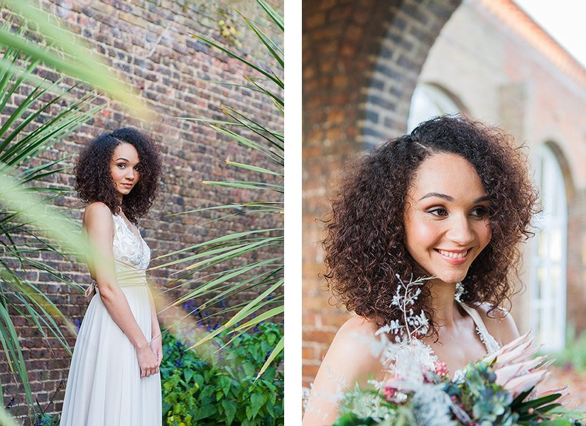 Palm and Gold Wedding Photo Shoot, Holland Park, London