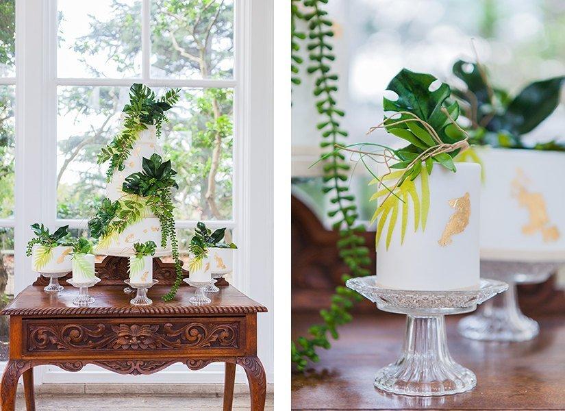 Tropical Theme Individual Wedding Cakes