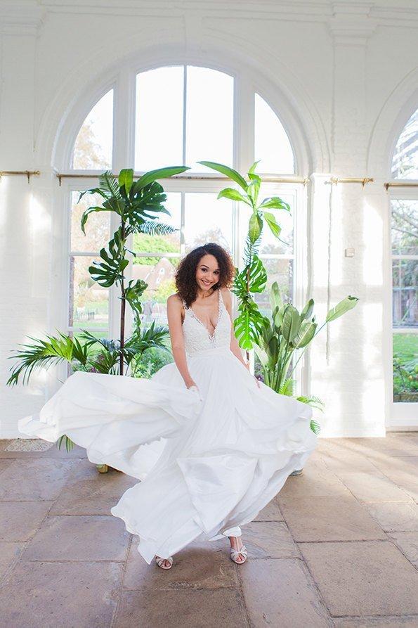 Tropical Theme Wedding Bridal Gown