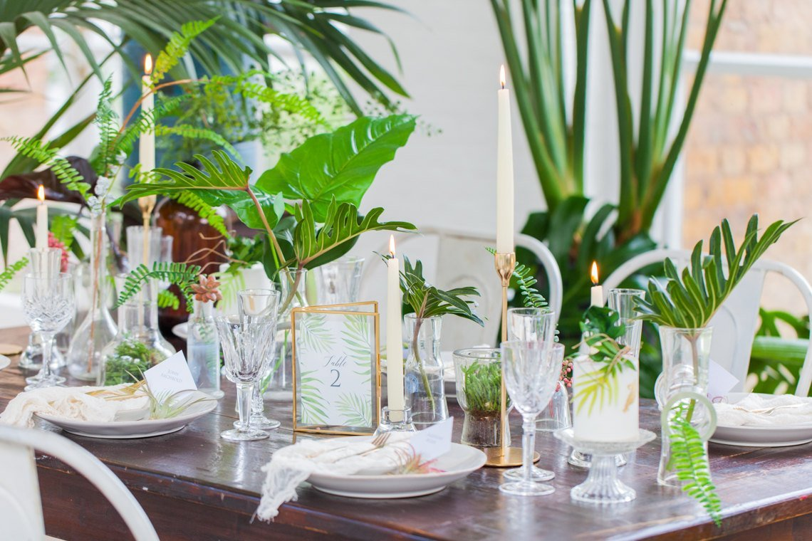 Tropical Theme Wedding Table Styling, Holland Park, London