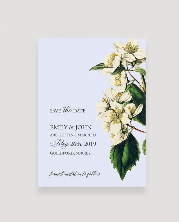 Botanical Save the Date Card | Surrey Wedding Event Stationery Design