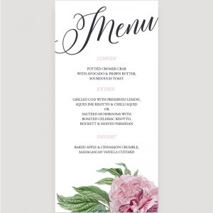 Botanical Wedding Reception Menu | Surrey Wedding Event Stationery Design