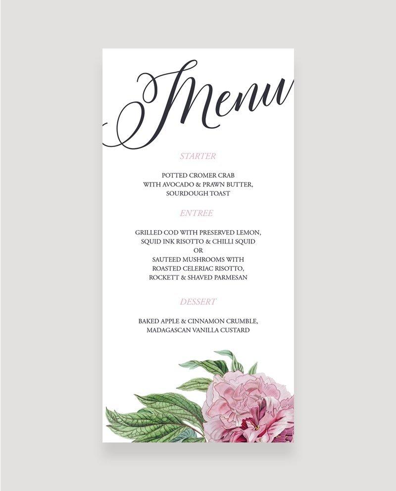 Evening Wedding Reception Food Ideas: Botanical Wedding Reception Menu