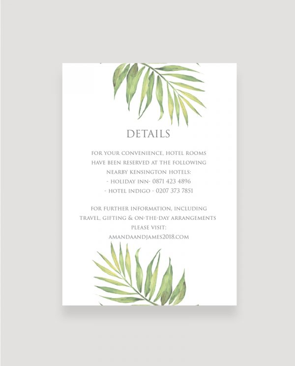 Coco Palm Enclosure Card | Surrey Wedding Event Stationery Design