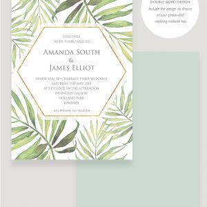 Coco Palm Wedding invitation | Surrey Wedding Event Stationery Design
