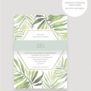 Coco Palm Wedding invitation Belly Band | Surrey Wedding Event Stationery Design