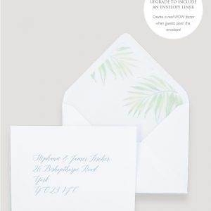 Coco Palm Wedding invitation Envelope Liner | Surrey Wedding Event Stationery Design