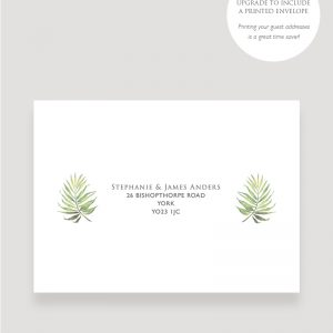 Coco Palm Wedding invitation Printed Envelopes | Surrey Wedding Event Stationery Design