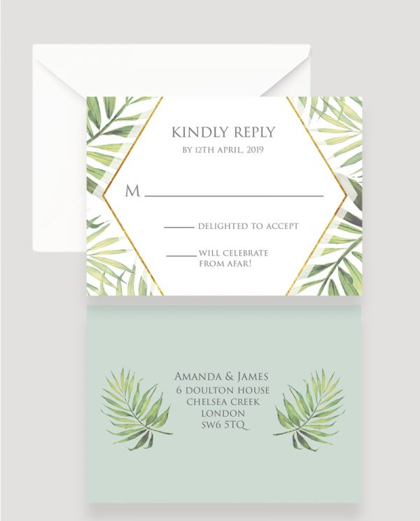 Coco Palm RSVP Card | Surrey Wedding Event Stationery Design