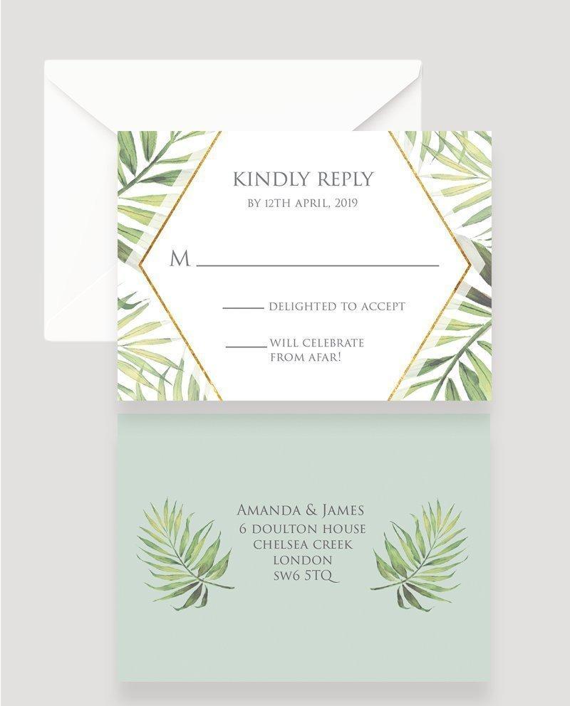 coco palm wedding rsvp card