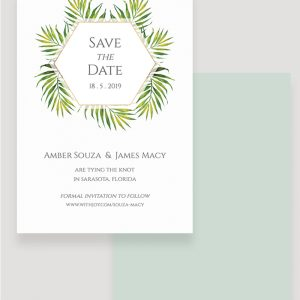 Coco Palm Save the Date Card | Surrey Wedding Event Stationery Design