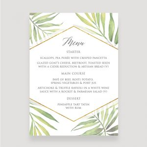 Coco Palm Wedding Menu | Surrey Wedding Event Stationery Design