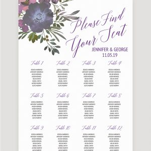 Muted Floral Table Plan | Surrey Wedding Event Stationery Design