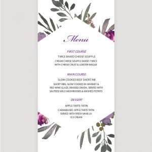 Muted Floral Menu | Surrey Wedding Event Stationery Design