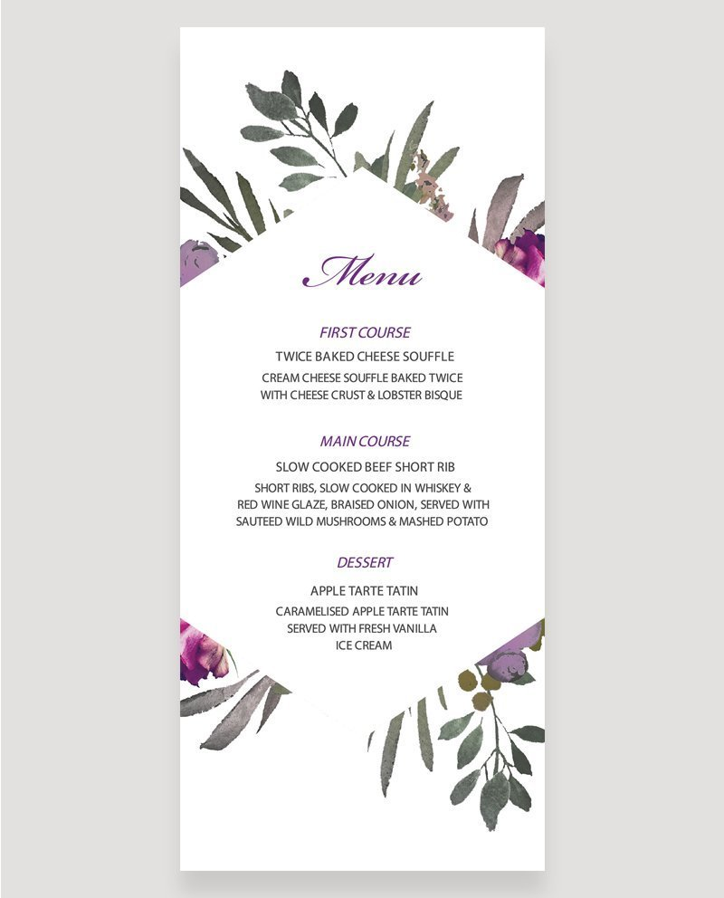 Muted Floral Menu   Surrey Wedding Event Stationery Design
