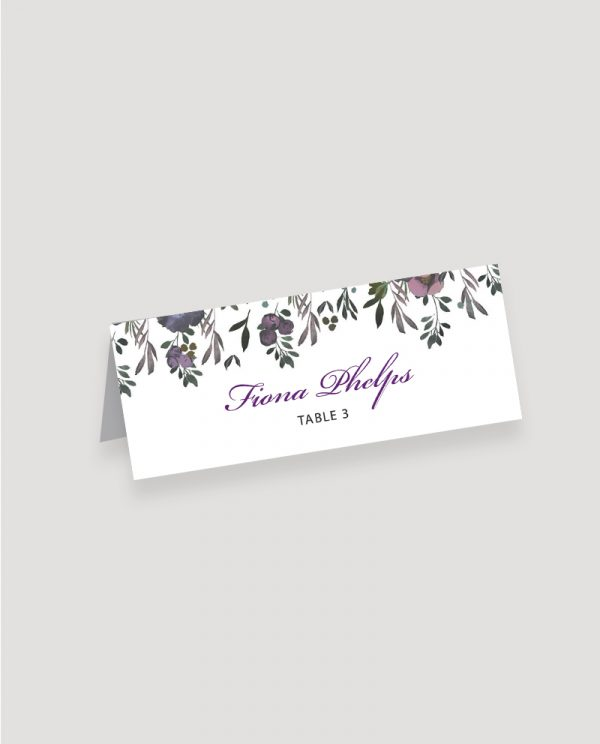 Muted Floral Place Card | Surrey Wedding Event Stationery Design