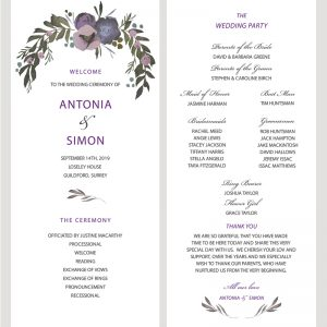 Muted Floral Ceremony Programme | Surrey Wedding Event Stationery Design