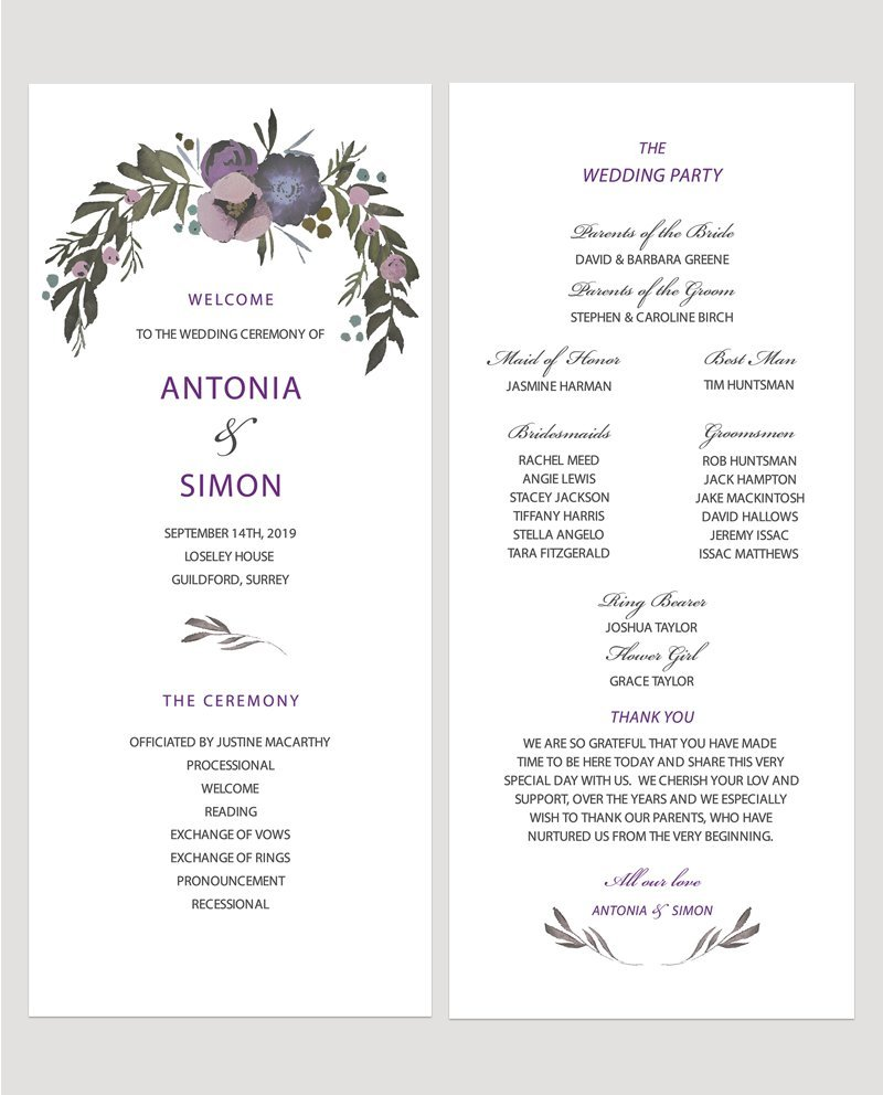 Muted Floral Ceremony Programme   Surrey Wedding Event Stationery Design