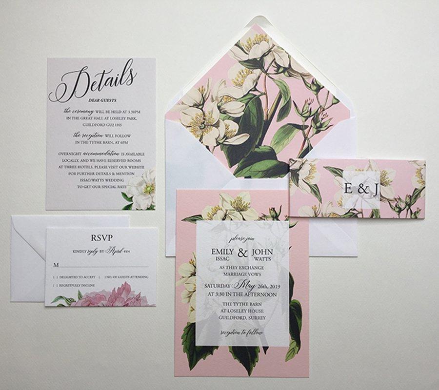Botanical Wedding Invitation Sample   Surrey Wedding Event Stationery Design