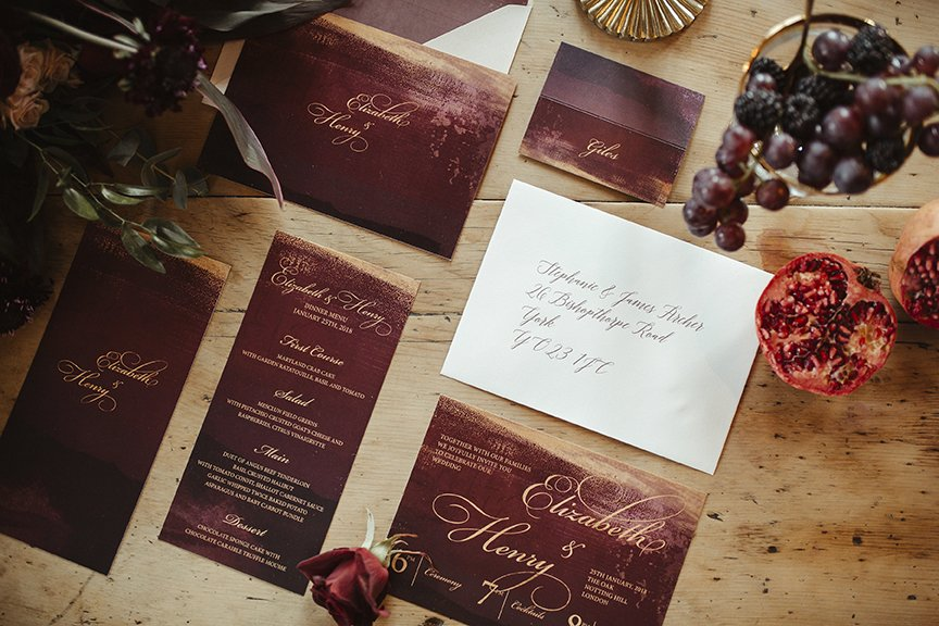 Claret and Gold Bespoke Wedding Stationery| Wedding Inspiration | Flamboyant Invites