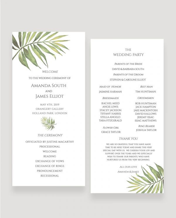 Coco Palm Wedding Ceremony Programme | Surrey Wedding Event Stationery Design