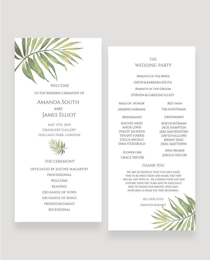 Coco Palm Wedding Ceremony Programme   Surrey Wedding Event Stationery Design