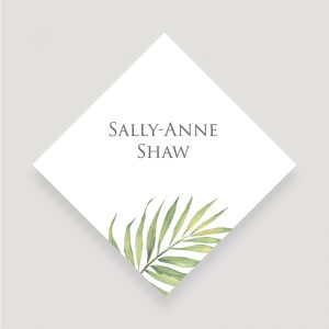 Coco Palm Wedding Place Card | Surrey Wedding Event Stationery Design