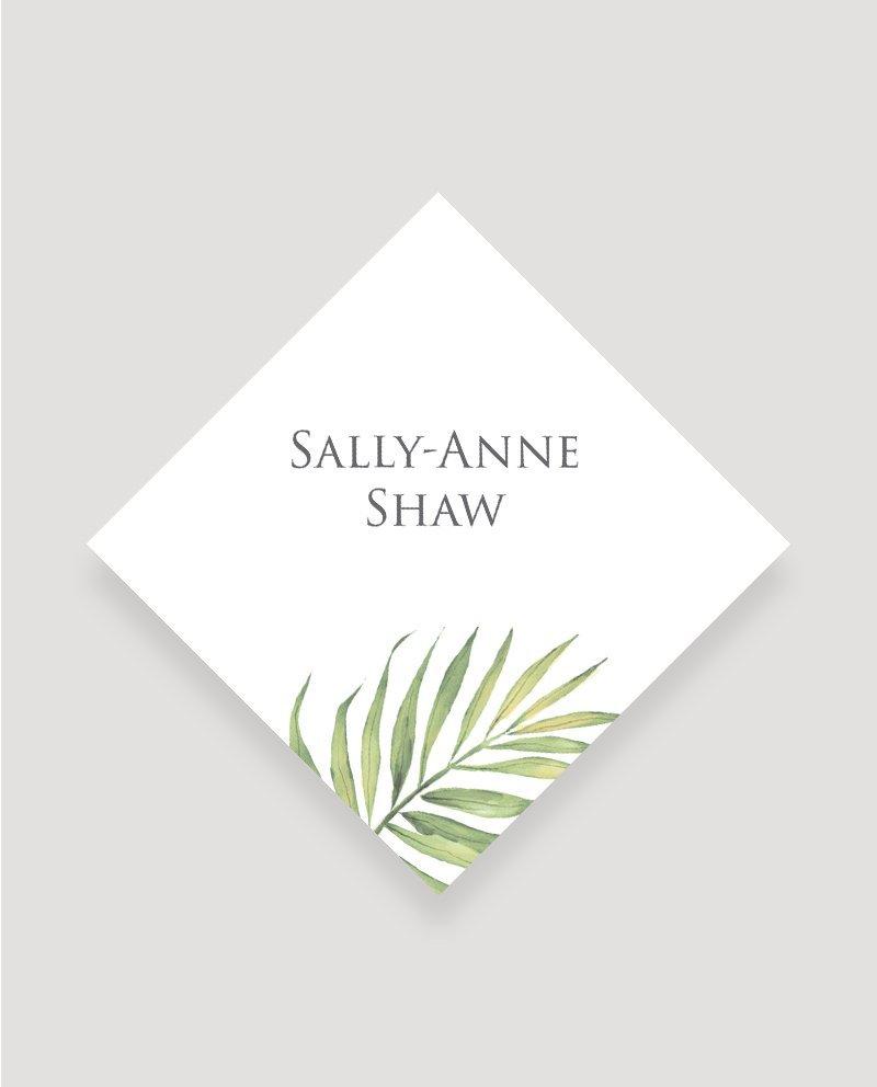 Coco Palm Wedding Place Card   Surrey Wedding Event Stationery Design