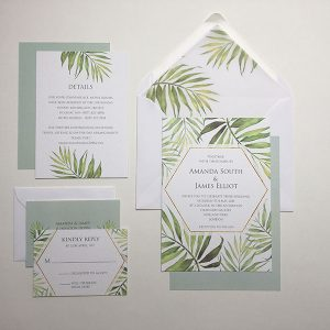 Coco Palm Wedding Invitation Sample | Surrey Wedding Event Stationery Design