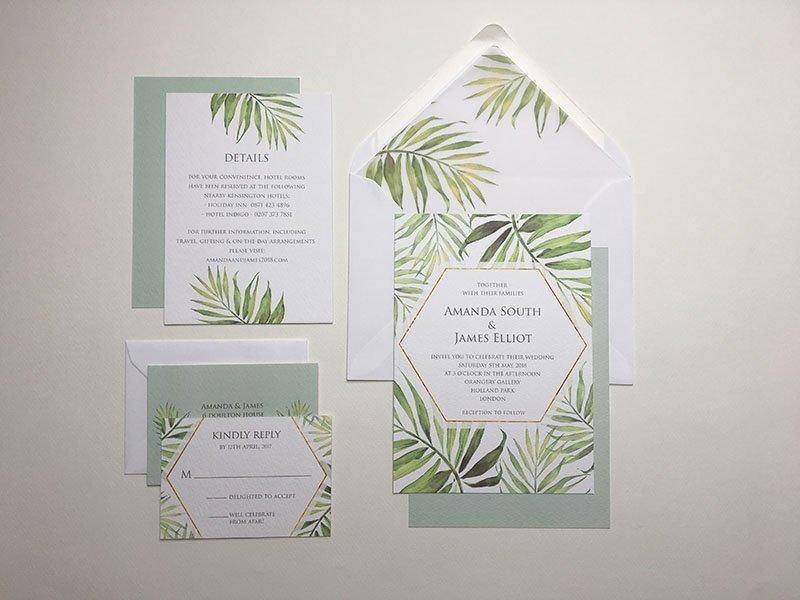 Coco Palm Wedding Invitation Sample   Surrey Wedding Event Stationery Design