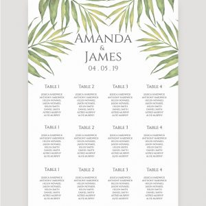 Coco Palm Wedding Table Plan | Surrey Wedding Event Stationery Design