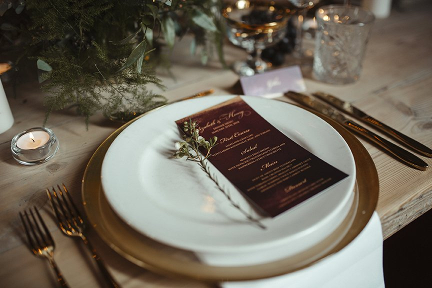 Deep Red and Gold Wedding Menu | Wedding Inspiration | Flamboyant Invites