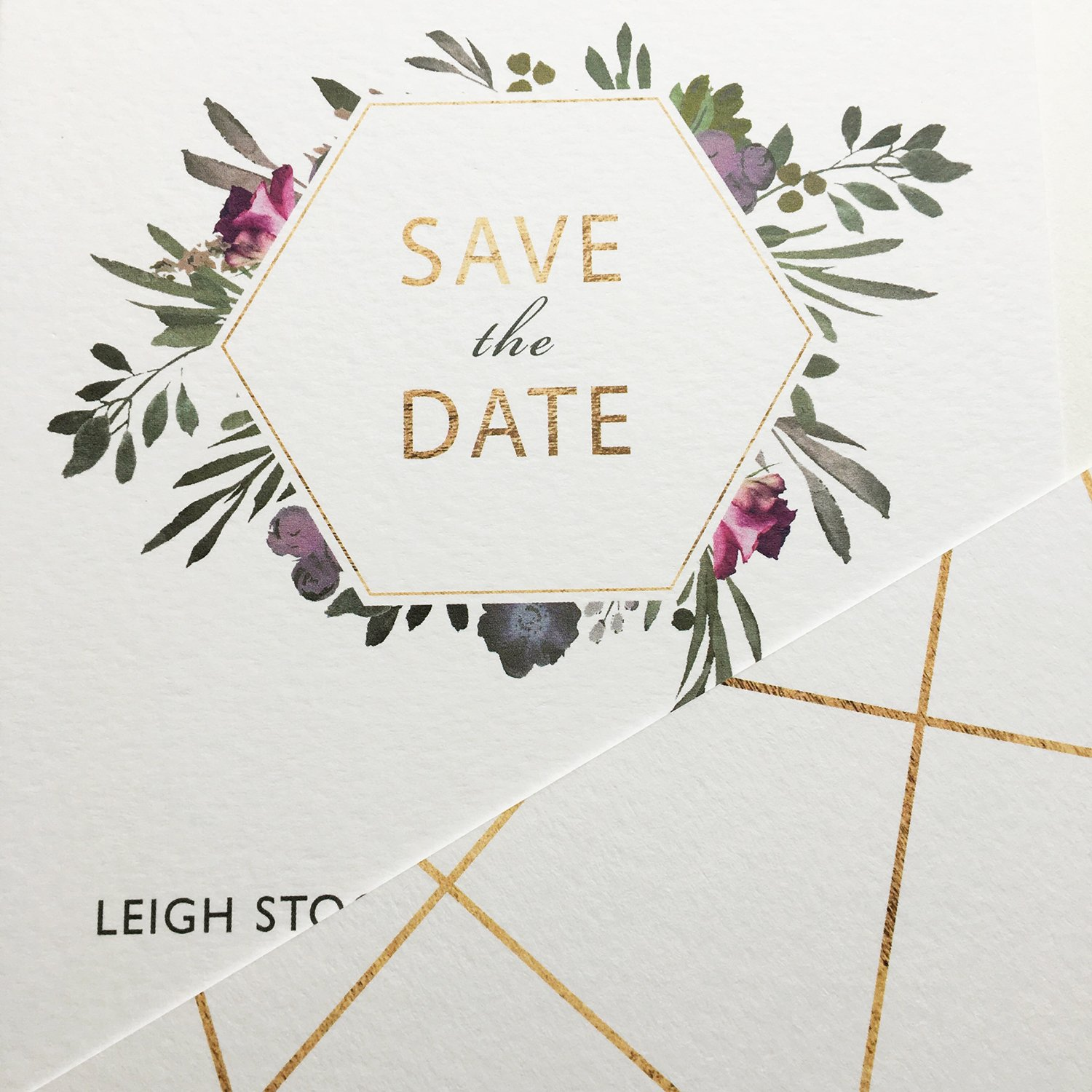Floral Save the Date Card, Floral Invitation, Geometric Invitation, Autumn Wedding Invitation, Winter Wedding Invitation