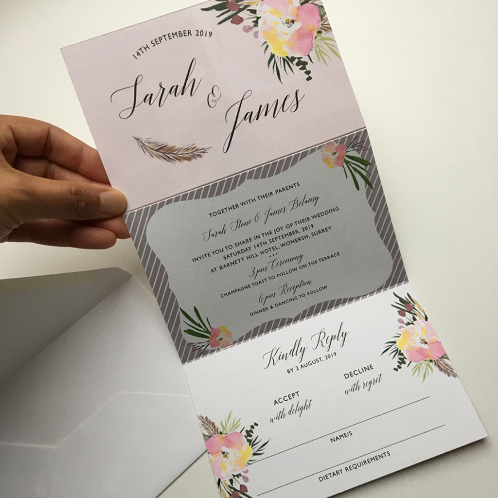 Concertina wedding invitation, all in one wedding invitation, modern wedding invitation, invitation, rsvp, information card, floral invitation